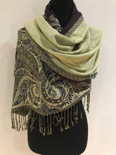 Pashmina hiver marron motif floral châle écharpe Wrap Grande Taille