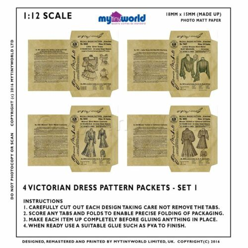 Set Of 4 Miniature Diy Doll House Victorian Dress Packets S1