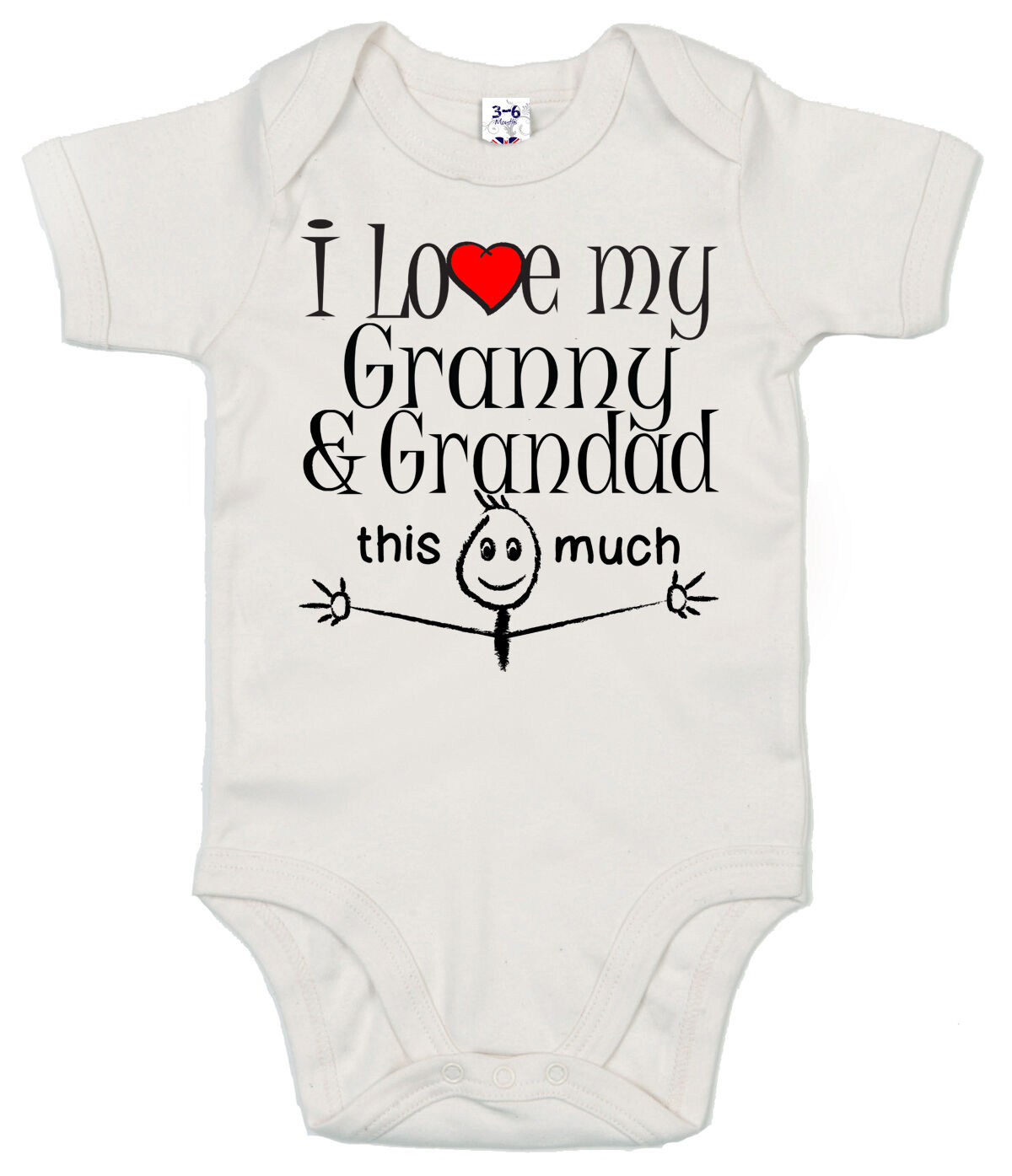"Grandparents Baby Bodysuit /""I Love Granny /& Grandad this Much/"" Trimmed Babygrow"