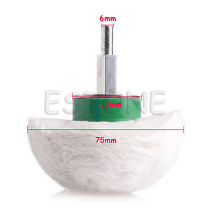 Tools Centre 3 Cotton Dome Polishing Mop Buffing Wheel Polish Pad Drill Adapter For Metal Jewelry Wood.