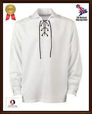 Scottish Jacobite Ghillie Kilt Shirt Leather Cord Sizes S - -XXXXXL--White Shirt