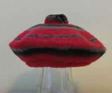 Vtg Tartan Beret Tam Hat Pom Pom Pure Wool MacNaugh Scotland Red Stripe XS Kids