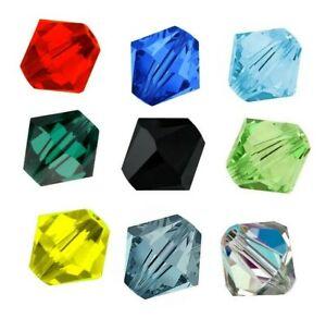 Swarovski-Perlen-4mm-Xilion-Bicone-40stk-Kristall-Perlen-5301-5328-Farben-Wahlen