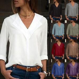 Women-Chiffon-Long-Sleeve-Blouse-Summer-Casual-V-Neck-Loose-Tops-T-Shirts-US