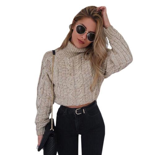 Damen Rollkragen Sweater Strick Pullover Bauchfrei Crop Top Langarm Winter Pulli