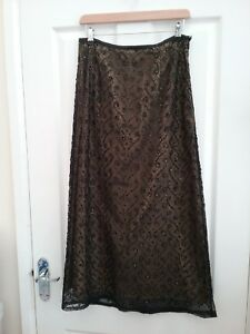 3bb777c2b8e Wallis Womens Black gold Sequined Lace Maxi Skirt Size 10 Petite ...