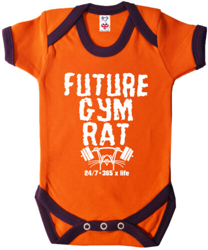 "Baby Fitness Kleidung /"" Future Ratte /"" Lustig Strampler Gewichte Muscles"