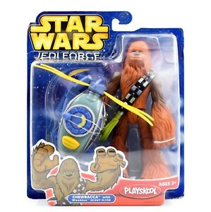 Star-Wars-Jedi-Force-Playskool-Chewbacca-with-Wookie-Scout-Flyer-Action-Figure