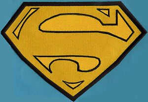 7-8-034-x-11-8-034-X-Large-Embroidered-Superman-Yellow-amp-Black-Cape-Back-Logo-Patch