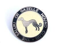 Saluki Club Badge Brooch Pin Silvertone Metal and Enamel Vintage