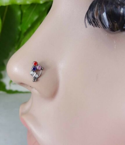 Details about  /Multi Stone Nose Stud Indian Nose Stud Black Plated Nose Stud Indian Nose Screw