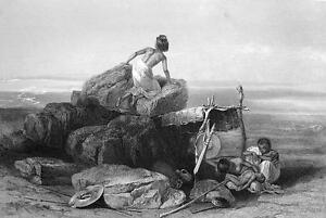 EGYPT-Nubia-Bisharee-Family-in-Desolate-Desert-1875-Antique-Print-Engraving