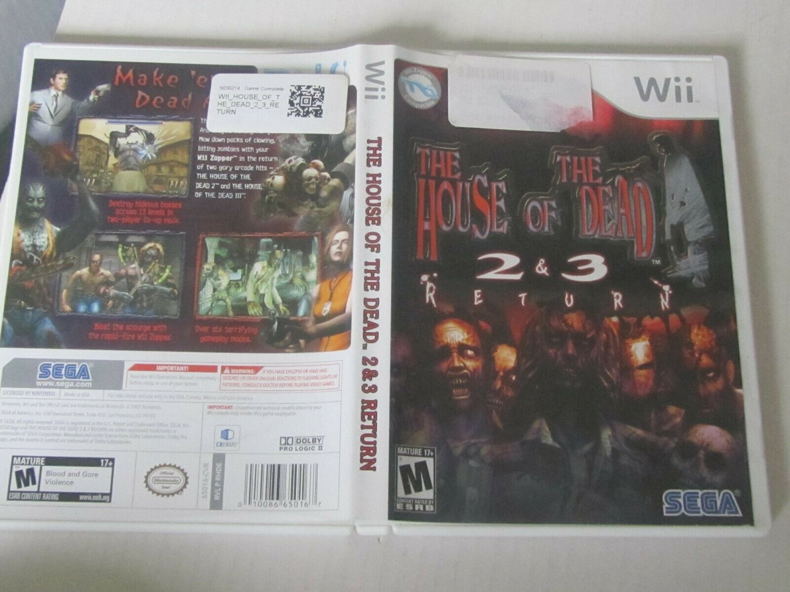The House Of The Dead 2 3 Return Nintendo Wii 2008 For Sale
