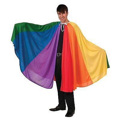 Rainbow Cape Cloak Gay Pride Fancy Dress Party Adult Carnival Joseph Parade BN