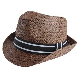 7fe95b021cd Details about Ribbon Tie Straw Panama Fedora Trilby Cap Beach Sun Hat  Womens Mens Summer