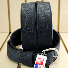 42 inch SILVER CREEK WESTERN SCROLL TOOL LEATHER MANS BELT BLACK MADE IN THE USA