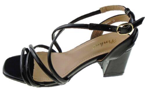 Ladies Pinkai Black Patent Strappy Low Block Heel Evening Party Shoes Sizes 3-8