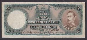 FIJI-5-Shillings-1951-VF-King-George-VI-SCARCE-BANKNOTE