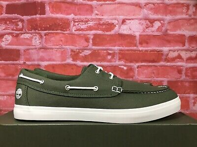 tapa columpio borroso  TIMBERLAND MEN'S UNION WHARF 2-EYE BOAT OXFORD SHOES DARK GREEN CANVAS  A1Q8H | eBay