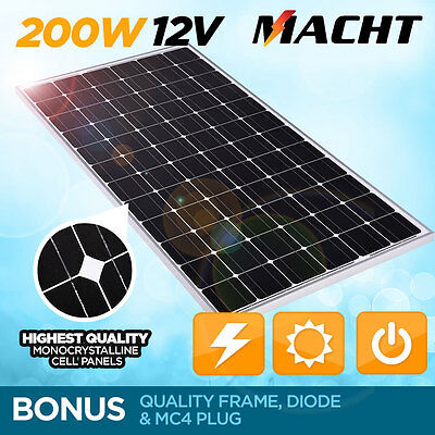 NEW MACHT 200W 24V SINGLE SOLAR PANEL KIT CAMPING POWER SOURCE CHARGE