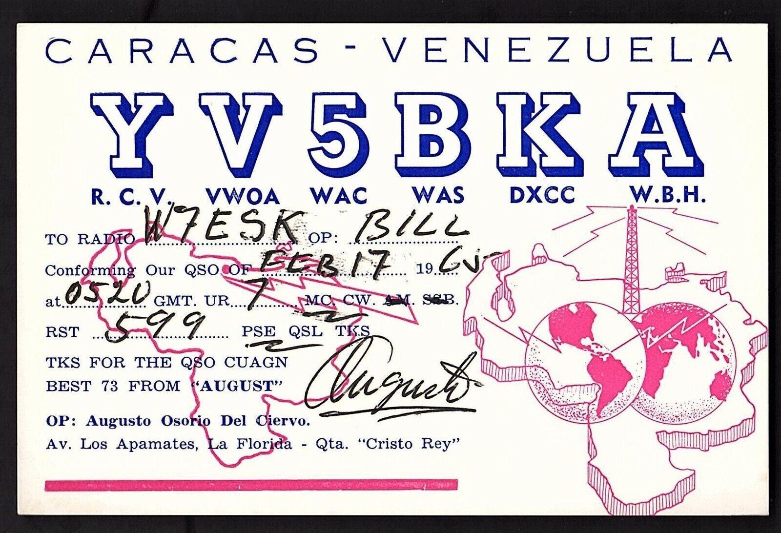 QSL QSO RADIO CARD Caracas-Venezuela/YV5BKA/Augusto Osorio Del Ciervo, (Q1894)