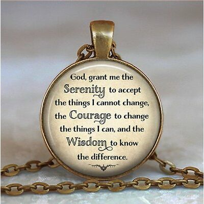 Serenity Prayer necklace pendant inspirational jewelry inspirational,bronze