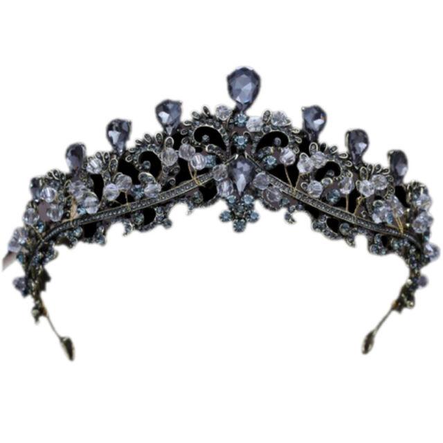 Gothic Baroque Crown Wedding Tiara Bridal Headband Black Cosplay Evil Queen Pear
