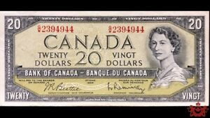 1954-Bank-Of-Canada-20-Beattie-Rasminsky-Shortrun-G-W2394944-VF-EF