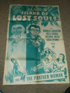 ISLAND OF LOST SOULS(1932)CHARLES LAUGHTON ORIG 1 SHT POSTER OF 1958 RE-RELEAS