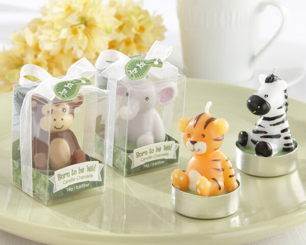 Born To Be Wild Zoo Jungle Animal Tea Light Candle Baby Shower Anniversaire Faveurs