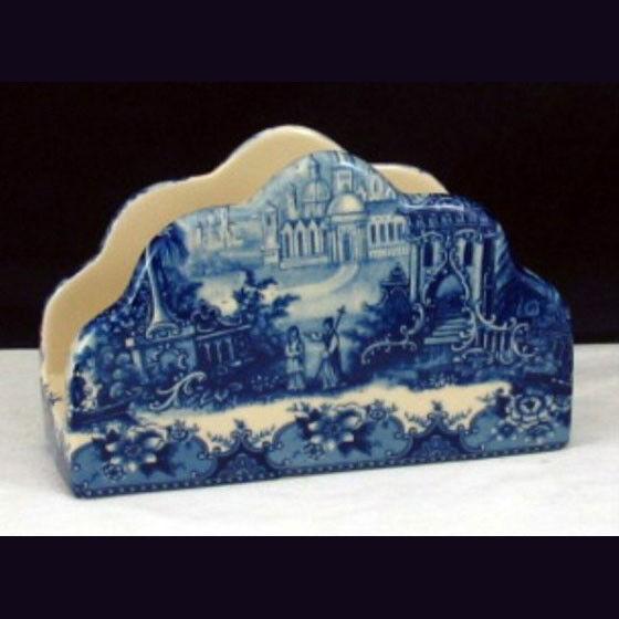 Porcelain Napkin holder - Blue & White French Vintage design by Somerton Green