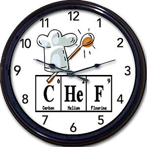 Details about Chef Chemistry Kitchen Wall Clock Periodic Table Elements  Bakery Breaking Bad