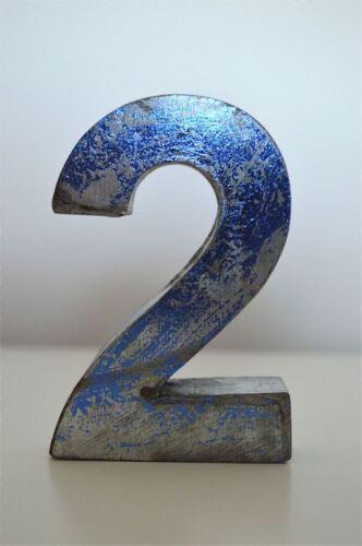 FANTASTIC VINTAGE STYLE BLUE 3D METAL SHOP SIGN NUMBER 2 ADVERTISING FONT