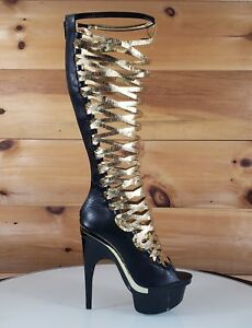 0edf2cc1038f Mona Mia Itzamar Gladiator Contoured Black Gold Heel Platform Boot 6 ...