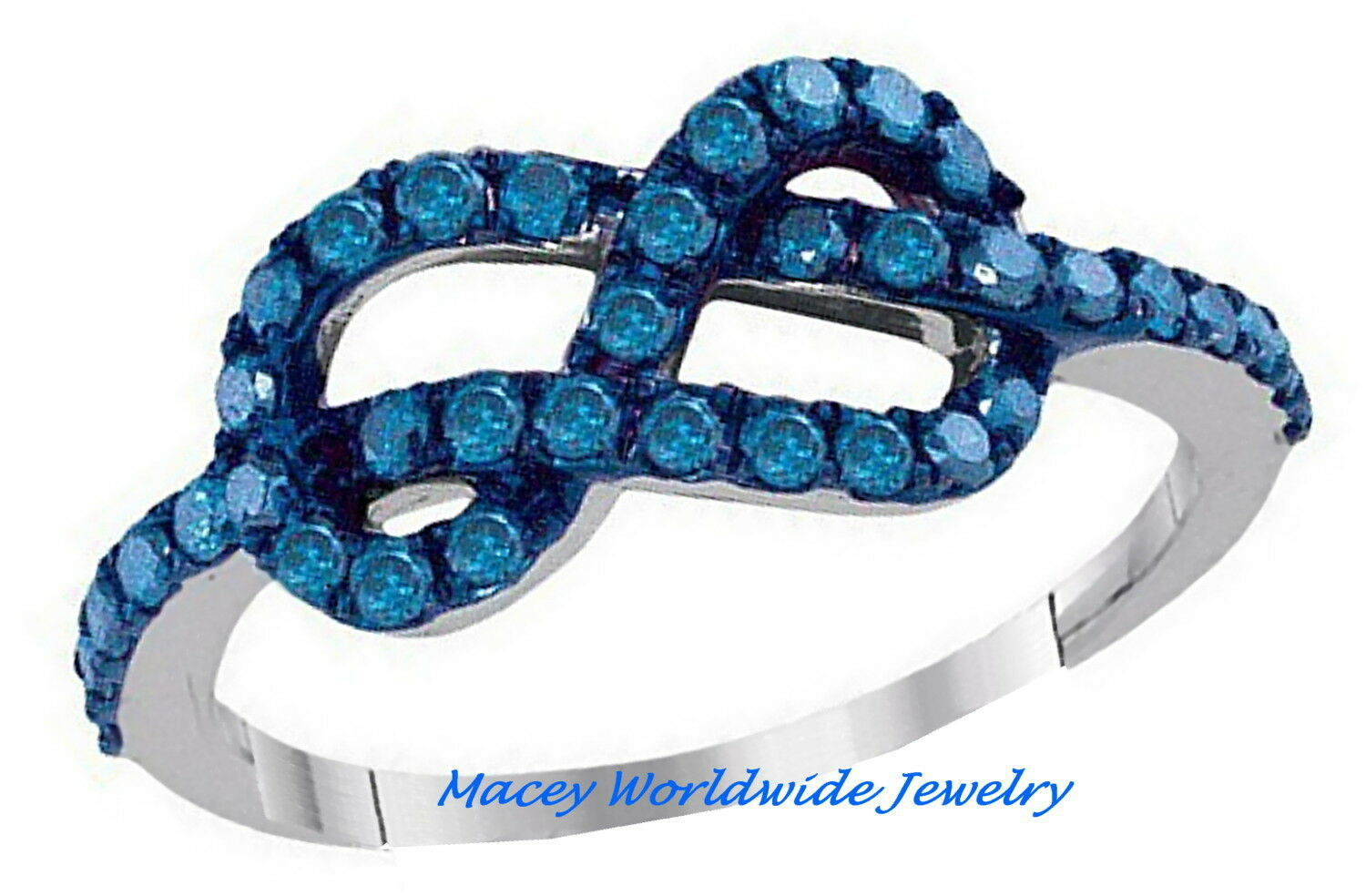 10K White gold Infinity Mediterranean bluee Diamond Loving You Infinity Ring .75C