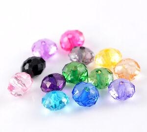 300-Mix-Acryl-Klar-Rondelle-Facettiert-Spacer-Perlen-Beads-10x7mm
