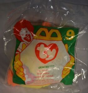 25c7e8ded63 McDonald s 1996 TY Beanie Babies  9 Quacks the Yellow Duck New ...