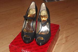 GUESS-039-GWMIKKI-039-Patent-Leather-Mary-Jane-Pumps-Shoes-Sz-7-5M-NIB-Dark-Grey-Color