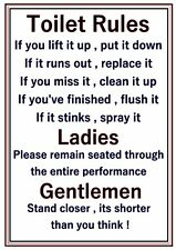 A4 Poster Sign Bathroom Joke Novelty Funny Toilet Rules