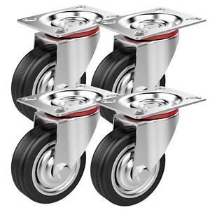 4-Castor-Wheels-Screws-75mm-200KG-Rubber-Trolley-Furniture-Caster-Garage-Table