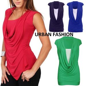 31a8d9ac5a987 Womens Ladies Gathered Cowl Neck Contrast Insert Long Vest Top Plus ...