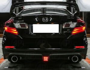 Details About Fit Honda Civic Sedan 2012 2015 Fb Red Smoke Tail Light Lamp Drl Look Led 1 Pair