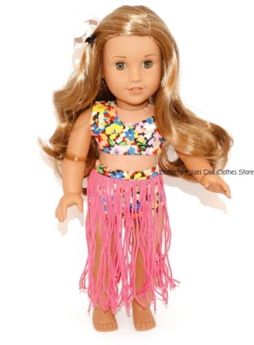 Pink Hula Costume Flower Hair Clip 18 in Doll Clothes Fits American Girl PKN