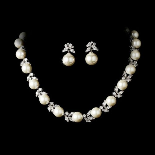 Bride and Bridesmaid CZ and Pearl Necklace /& Earrings Floral Bridal Jewelry Set