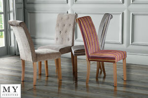 Image Is Loading High Quality Upholstered Scroll Roll Back Dining Chair