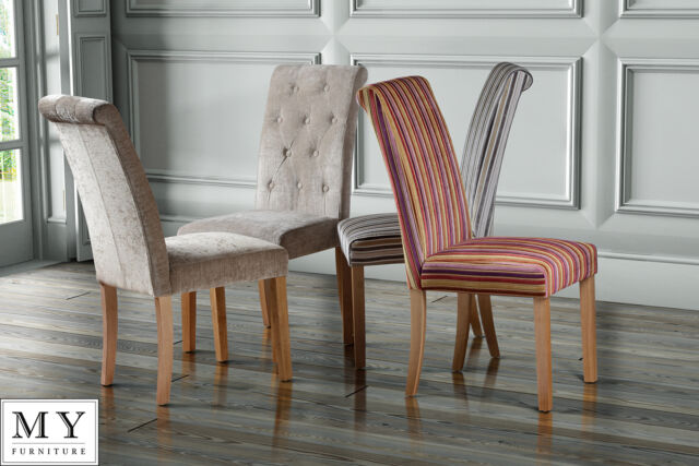 High Quality Upholstered Scroll /  Roll  Back Dining Chair - GENOA- Single