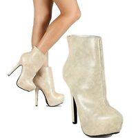 Dollhouse Ivory Lizard Pump High Heel Shoe Ankle Bootie Platform Women's Shoes