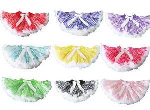 NEW-Pettiskirt-dance-girl-tutu-skirt-plaid-pic-nic-dance-birthday-2-4-6-8-12