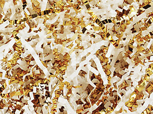 U-Choose-Size-WHITE-amp-METALLIC-GOLD-Gift-Basket-Shred-Crinkle-Paper-Filler