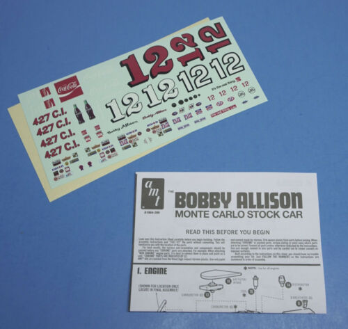 AMT 1972 Bobby Allison Coca-Cola Monte Carlo Stock Car Decals Instructions 1//25